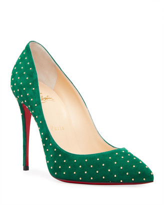 Christian Louboutin Pigalle Follies Plume Studded Suede Red Sole Pumps