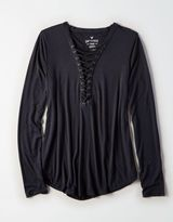 American Eagle Outfitters AE Soft & Sexy Long-Sleeve Lace-Up T-Shirt