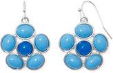 Liz Claiborne Blue Stone Silver-Tone Flower Drop Earrings