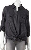 Rock & Republic foil drop-tail hem challis shirt - women's