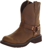 """Justin Boots Women's Gypsy Collection 8"""" Boot Fashion Round Toe Brown Rubber Outsole, with Perfed Saddle Vamp/ with Diamond Cut Pull Strap"""