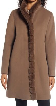 Fleurette Wool Car Coat with Genuine Rex Rabbit Fur Trim