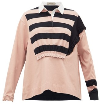 Preen Line Giselle Ruched Striped Cotton Rugby Top - Womens - Black Pink