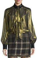 Rachel Zoe Mabel Metallic Scarf-Neck Top