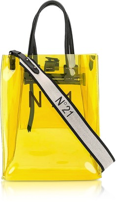N°21 Transparent Yellow PVC Small Tote Bag w/Canvas Strap