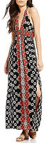 Angie Printed V-Neck Side Slits Maxi Dress