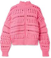 Isabel Marant Zoe Oversized Open-knit Cotton-blend Turtleneck Sweater - Pink