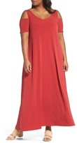 Sejour Plus Size Women's Knit Cold Shoulder Maxi Dress