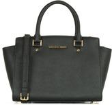 Michael Kors Selma Medium Black Leather Top Zip Satchel Bag