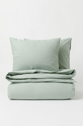 H&M Cotton Duvet Cover Set - Green