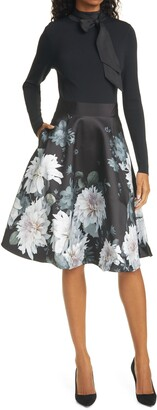 Ted Baker Jordynn Long Sleeve Fit & Flare Dress