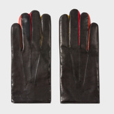 Paul Smith Men's Black And Red Leather Concertina Gloves