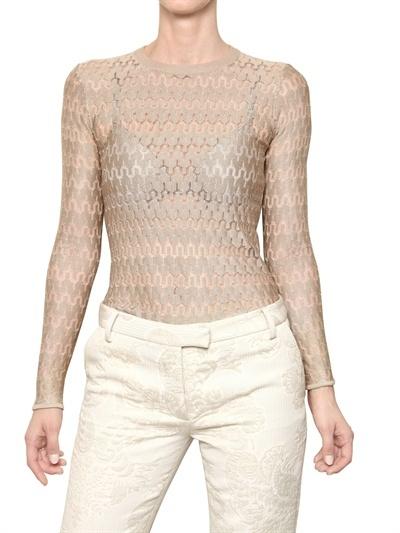 Salvatore Ferragamo Silk Blend Weave Knitted Sweater