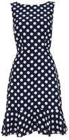 Wallis Petite Navy Polka Dot Flute Hem Dress