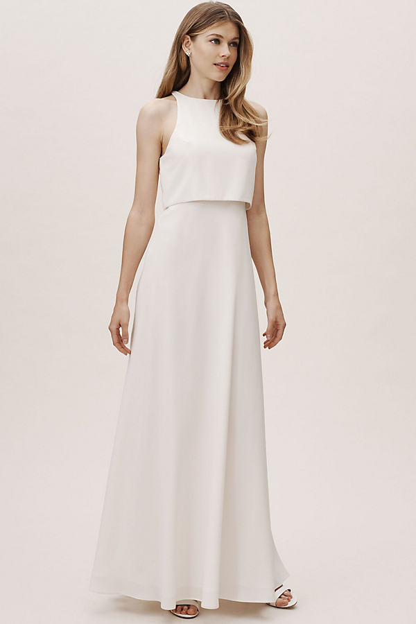 Anthropologie Iva Crepe Maxi By in White Size 18