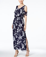 Nine West Printed Cold-Shoulder Maxi Dress