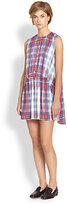 Thakoon Addition Plaid Cape-Back Dress
