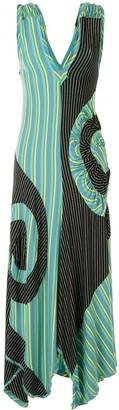 KIKO KOSTADINOV Pinstriped Circle Print Maxi Dress