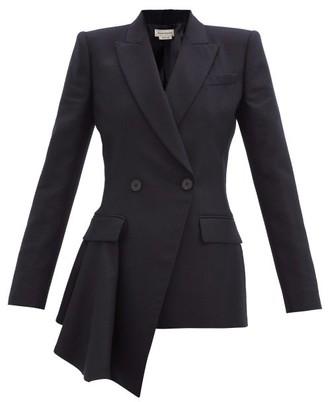 Alexander McQueen Asymmetric Double-breasted Wool-flannel Jacket - Navy
