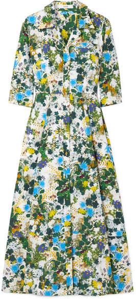 Erdem Kasia Floral-print Cotton-poplin Midi Dress - Blue