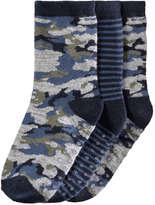 Joe Fresh Toddler Boys' 3 Pack Camo Print Socks, JF Midnight Blue (Size 1-3)