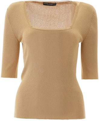 Dolce & Gabbana Square Neck Knit Top