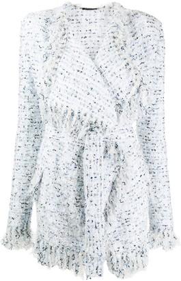 Balmain Tweed Fringed Cardigan