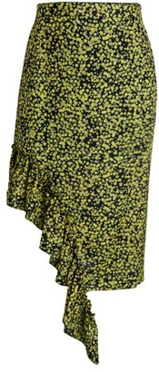 Rokh Floral Ruffled Midi Skirt