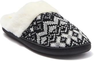 Kensie Fair Isle Knit Faux Fur Slipper