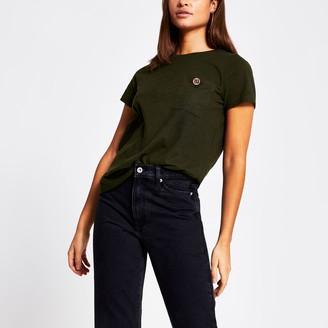 River Island Womens Khaki RI diamante button pocket T-shirt