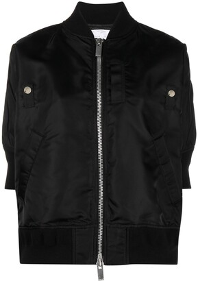 Sacai Short-Sleeve High-Low Bomber Jacket
