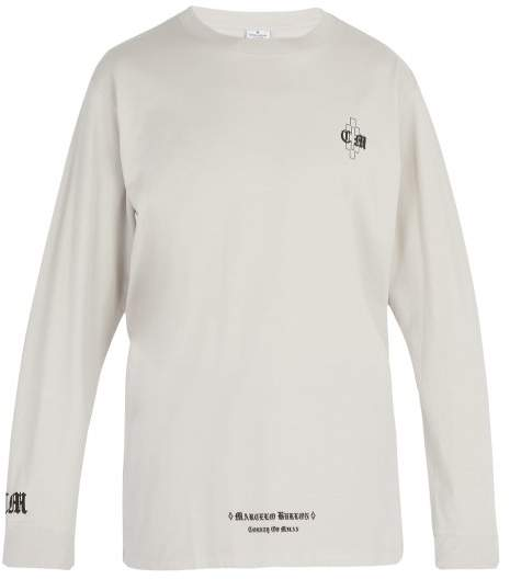 Marcelo Burlon County of Milan Logo Print Long Sleeved T Shirt - Mens - Light Grey