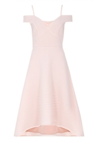 Quiz Pink Stripe Sweetheart Neck Dip Hem Dress
