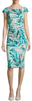 Tracy Reese Cap-Sleeve Leaf-Print Sheath with T-Back