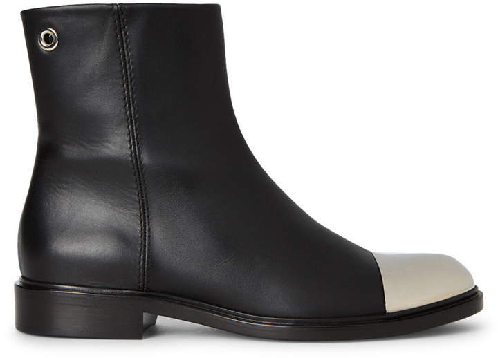 Proenza Schouler Black & Silver-Tone Leather Ankle Boots