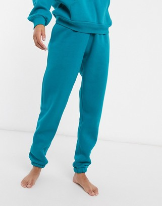 Chelsea Peers organic cotton heavy weight lounge sweatpants in teal