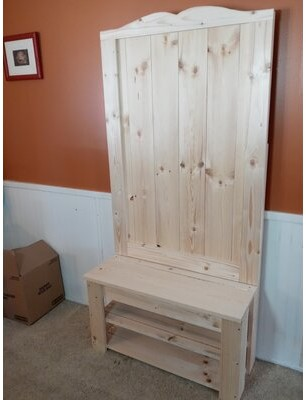 Union Rustic Beeler Pine Solid Wood Hall Tree with Bench and Shoe Storage