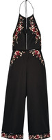 Zimmermann Sakura Embroidered Linen And Cotton-blend Jumpsuit - Black