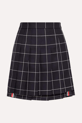 Thom Browne Pleated Checked Wool-twill Mini Skirt - Navy