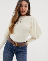 Asos Design DESIGN balloon sleeve sweater with deep cuff