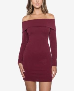B. Darlin Juniors' Glitter Off-The-Shoulder Dress