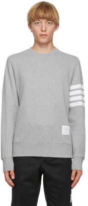 Thom Browne Grey 4-Bar Classic Crewneck Sweatshirt