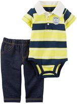 Carter's Baby Boy Striped Polo Bodysuit & Pants Set