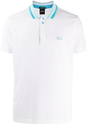 HUGO BOSS Short-Sleeved Contrast Trim Polo Shirt
