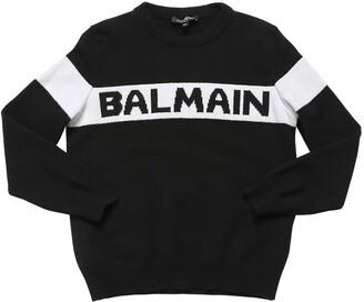 Balmain Logo Jacquard Cashmere Knit Sweater