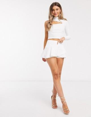 In The Style x Saffron Barker frill wrap skort in white