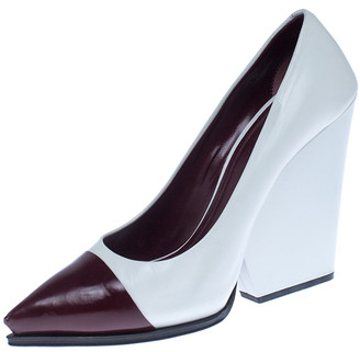 Celine White/Burgundy Leather Cap Toe Wedge Pumps Size 39