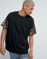 Asos Super Oversized T-Shirt In Heavyweight Jersey With Sequin Sleeves