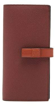 Loewe Vertical Large Grained-leather Wallet - Womens - Burgundy Multi