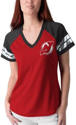 G Iii Women's G-III 4Her by Carl Banks Red/Black New Jersey Devils Franchise Raglan V-Neck T-Shirt